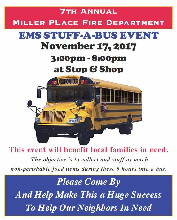 Miller Place Fire Department 7th Annual Stuff-A-Bus Event on November 17