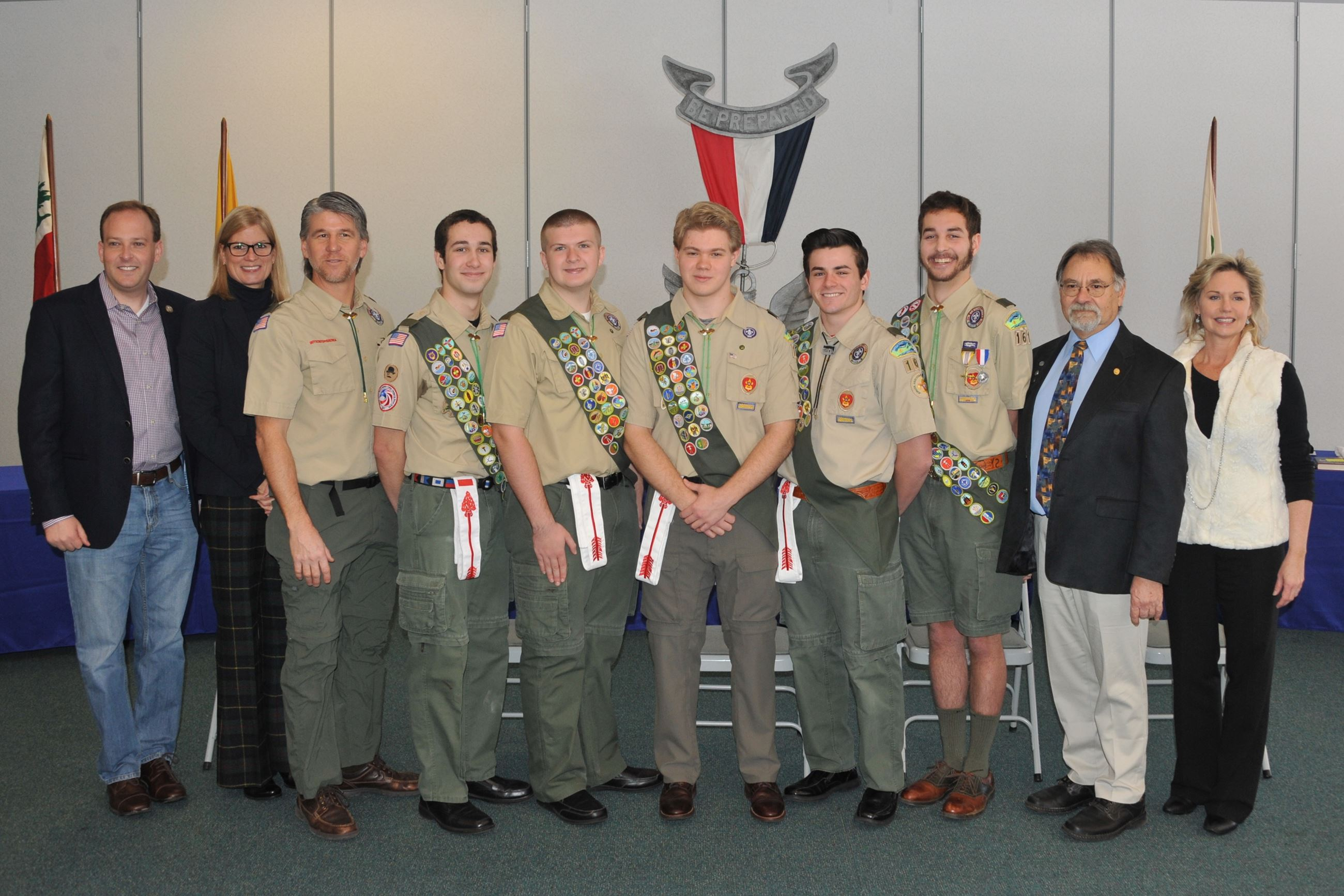 Legislator Anker and Elected Officials with Eagle Scouts from Troop 161