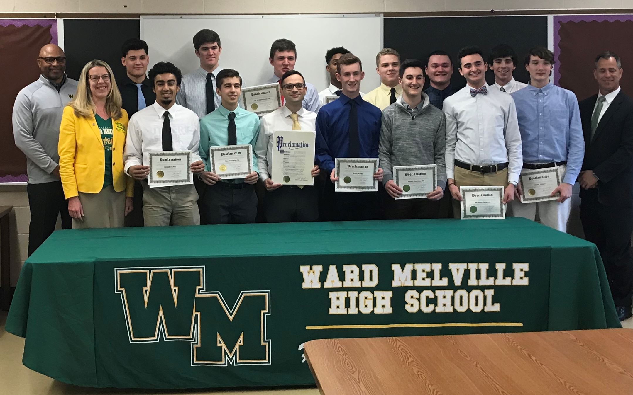 Legislator Kara Hahn honors WMHS Boys Varsity Basketball Team