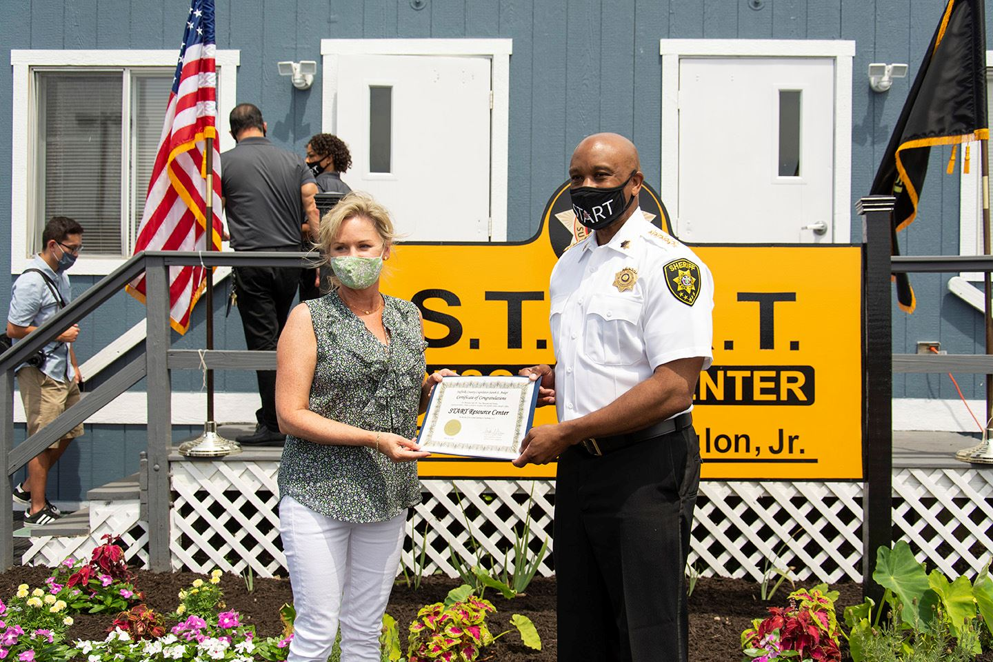 Pictured L-R: Suffolk County Legislator Sarah Anker and Suffolk County Sheriff Errol D. Toulon, Jr.