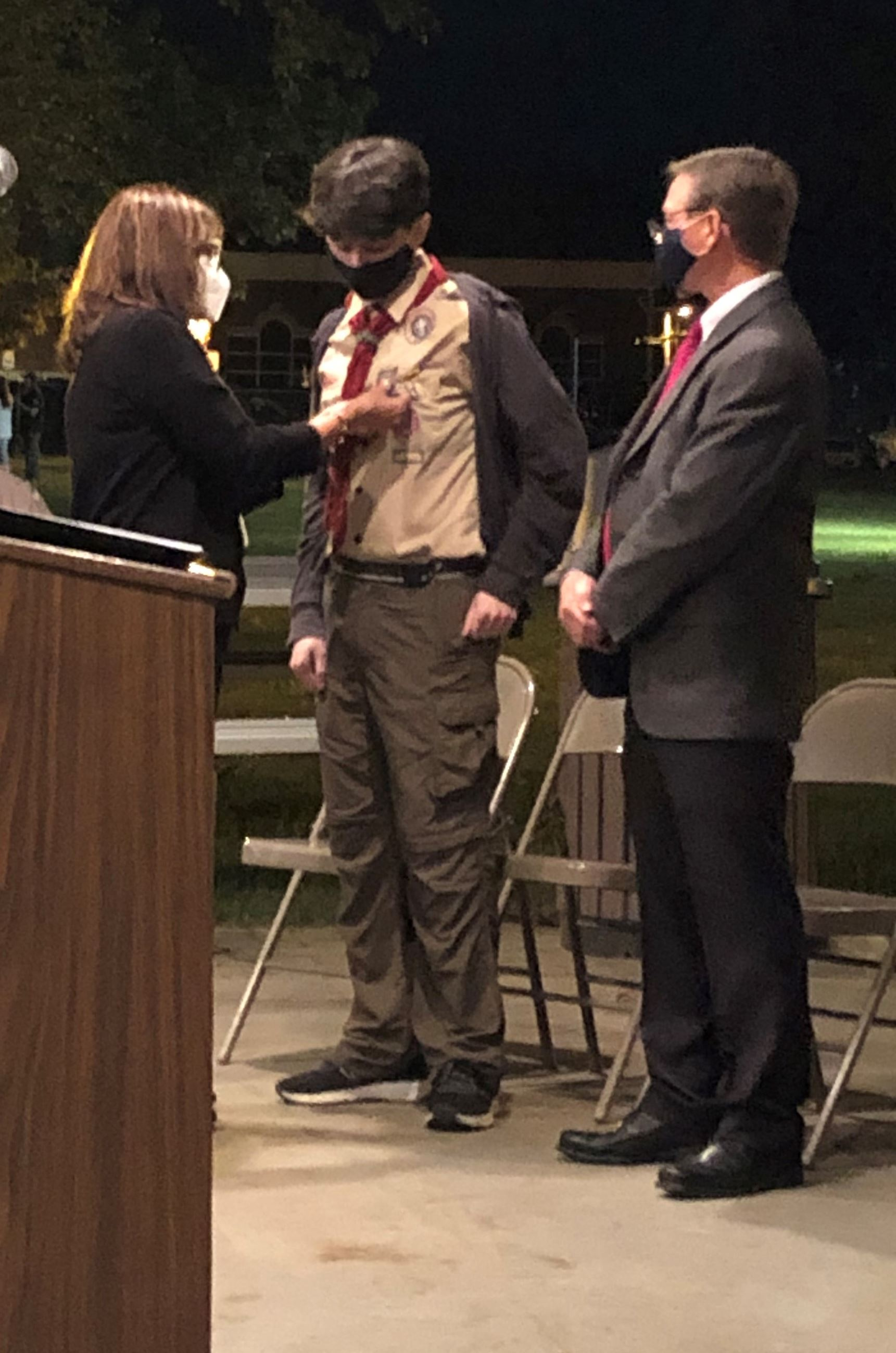 Troop 433 Eagle Scout Nathan Strunk and His Parents