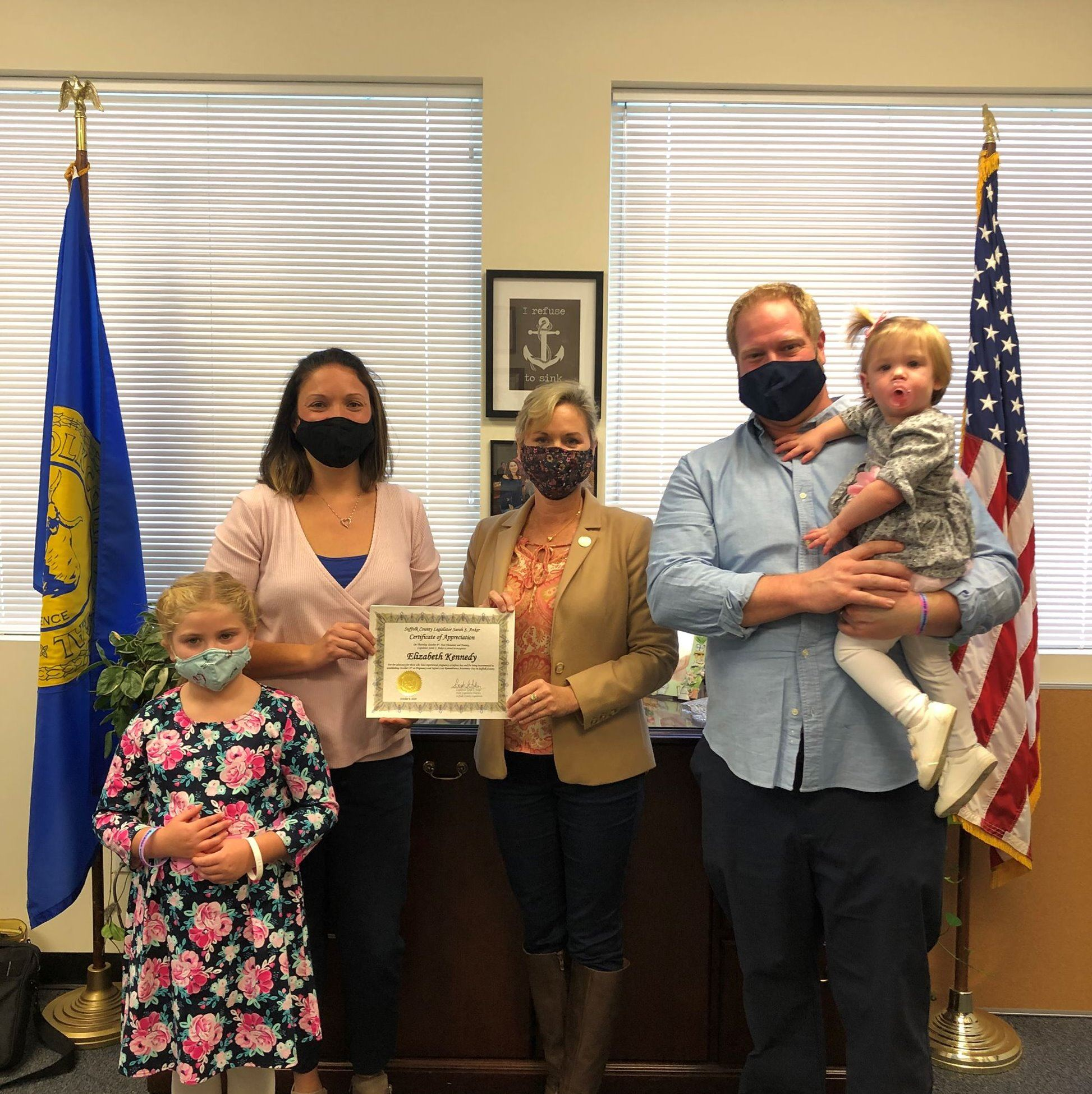 Elizabeth Kennedy and family, and Legislator Anker